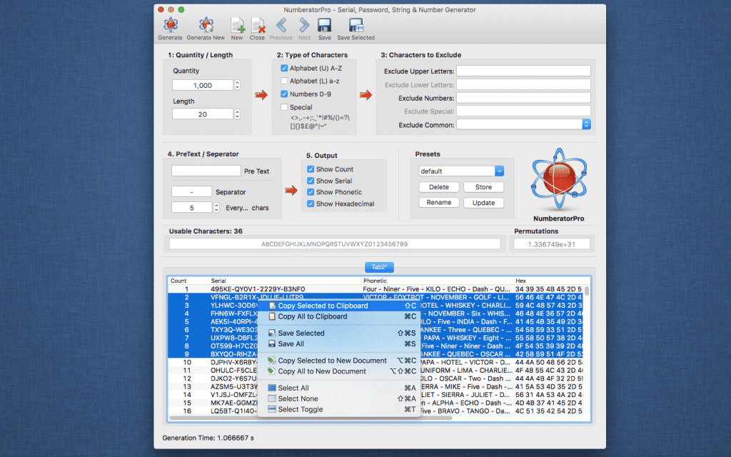 Numberator Pro Context Menu Screenshot
