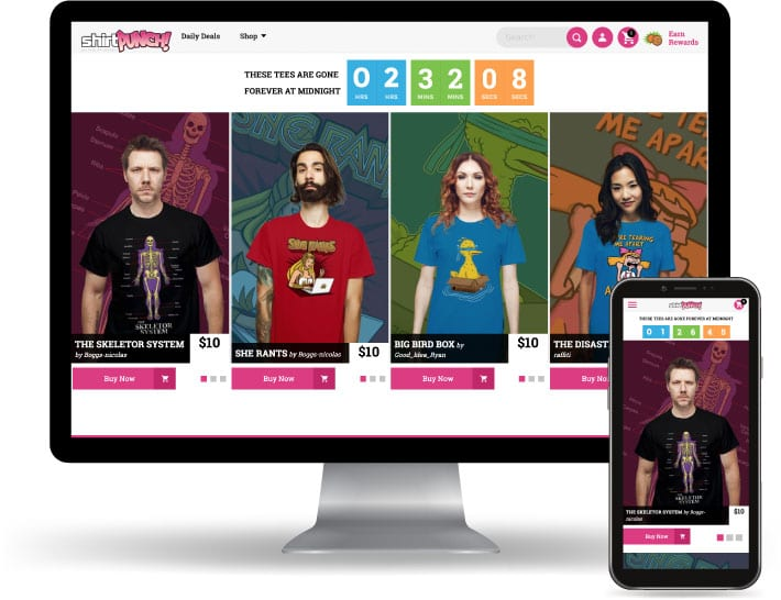 ShirtPunch website running on a computer and mobile