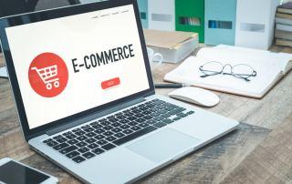 eCommerce business website open on a laptop on a desk