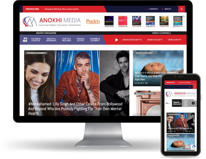 Anokhi Media website running on a computer and mobile