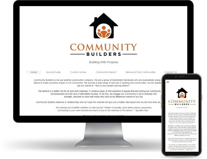 Community Builders website running on a computer and mobile
