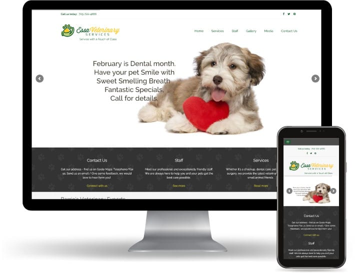 Essa Veterinary Services website running on a computer and mobile