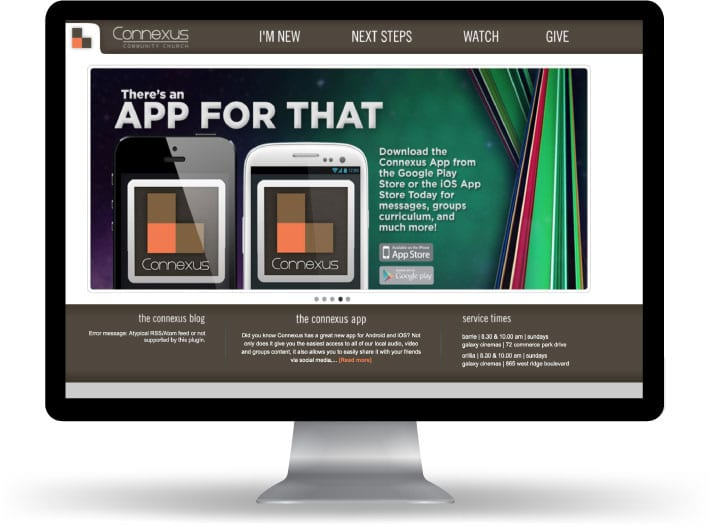 Connexus Church website running on a computer and mobile