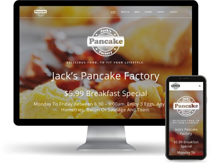 Jacks Pancake Factory website running on a computer and mobile