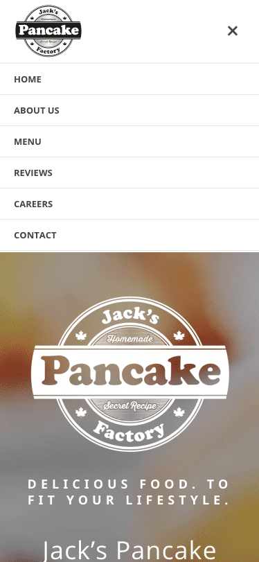 Jack's Pancake Factory mobile menu