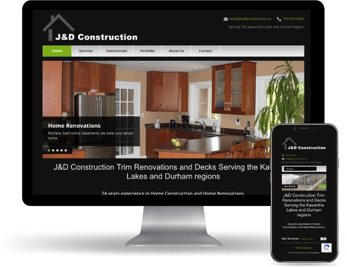 J and D construction website running on a computer and mobile
