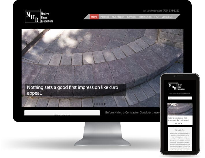 Modern Home Renovations website running on a computer and mobile