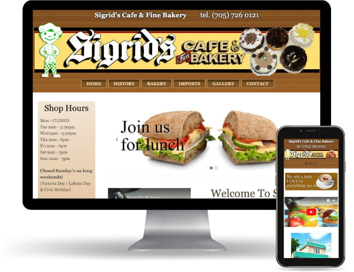 Sigirids Cafe & Fine Bakery website running on a computer and mobile