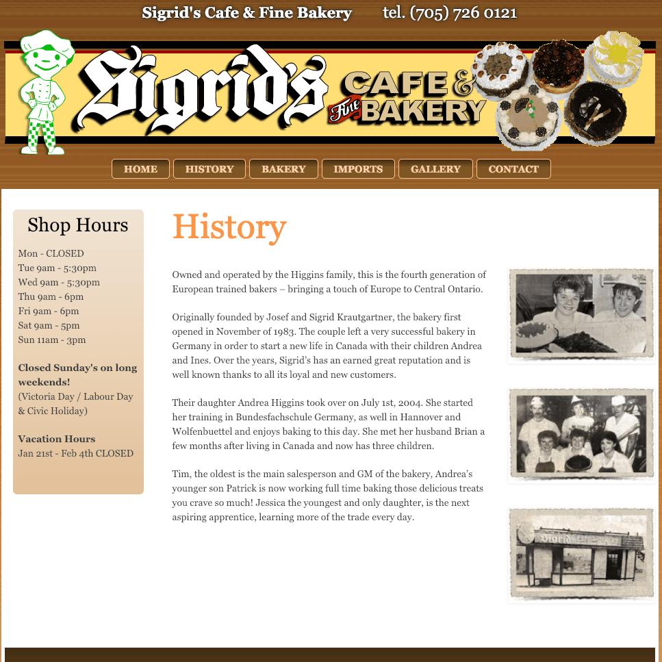 Sigrid's Cafe & Fine Bakery history