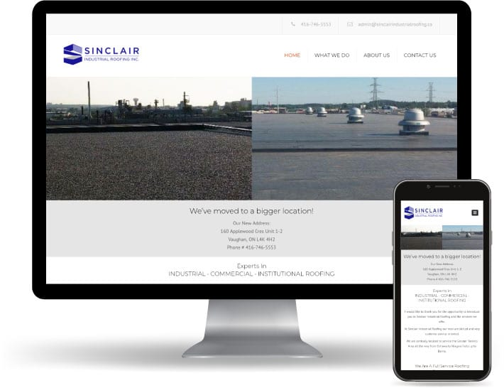 Sinclair Industrial Roofing website running on a computer and mobile