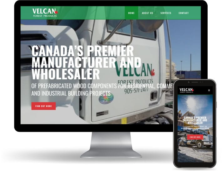 Velcan Forest Products website running on a computer and mobile