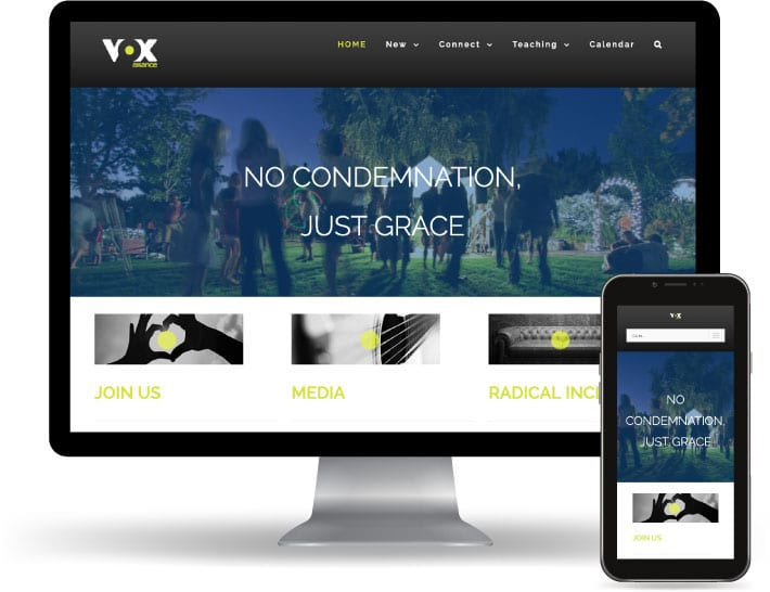 VOX alliance website running on a computer and mobile