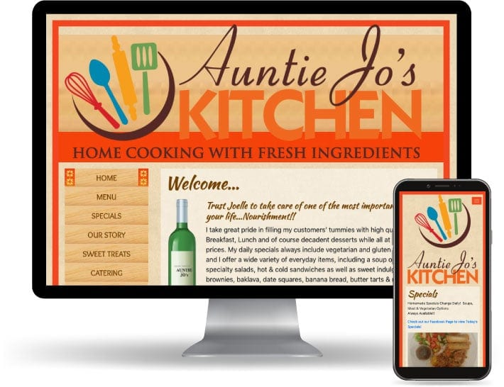 Auntie Jo's Kitchens website running on a computer and mobile
