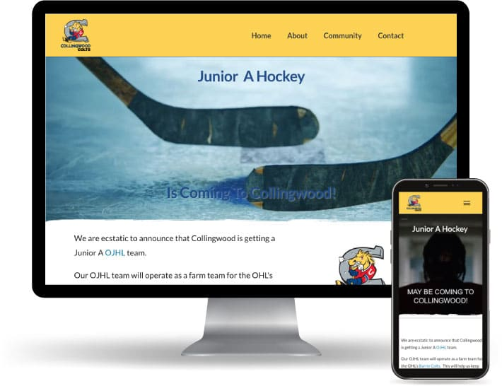 Collingwood Colts Junior A Hockey website running on a computer and mobile