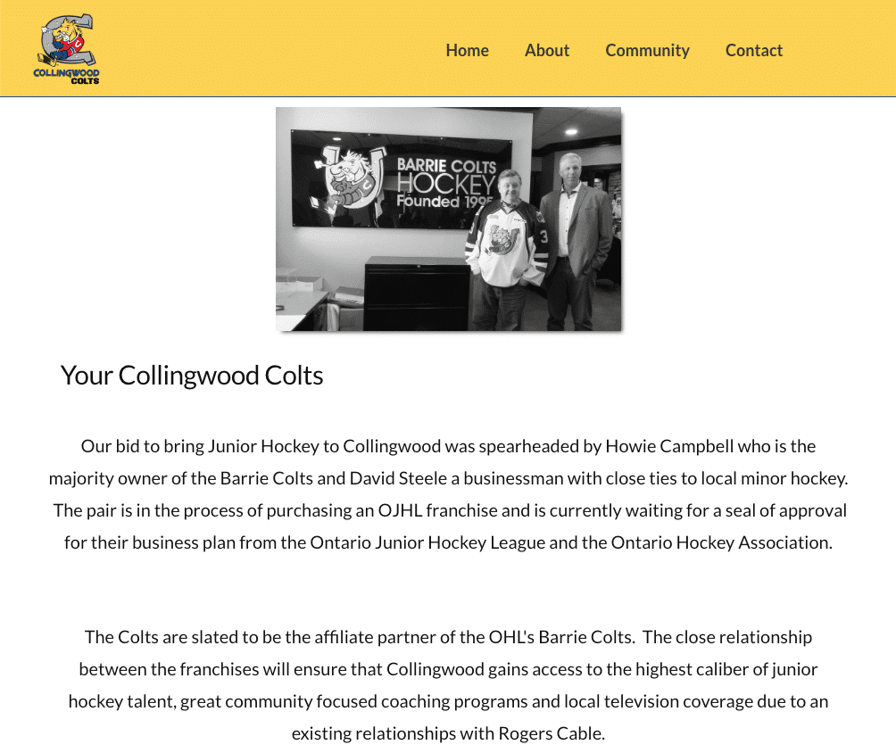 Collingwood Colts JrA About