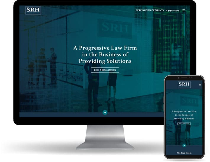 SRH Litigation website running on a computer and mobile